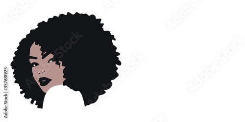African woman background sketch with afro hair, fashion background