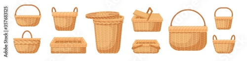 Fototapeta Set of various realistic empty wicker baskets vector illustration