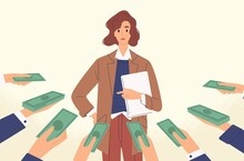 Woman Popular Specialist With Money At Human Hands Vector Flat Illustration. Female Demanded Professional Hold Laptop Isolated. Concept Of Skilled, Qualification, Opportunity And Suggestions