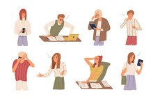 Set Of Different Angry People Having Failure Vector Flat Illustration. Collection Of Frustrated Man And Woman Feeling Stress And Problem Isolated On White Background. Something Went Wrong