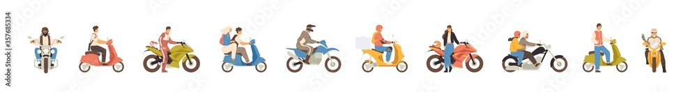Fototapeta Set of different motorcycle and scooter riders vector flat illustration. Collection of various man, woman and couple drivers in helmets isolated on white background. People on motor transportation