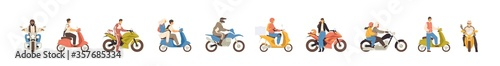 Fotografia Set of different motorcycle and scooter riders vector flat illustration