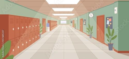 Foto Colorful school corridor with window, doors and cupboards vector illustration