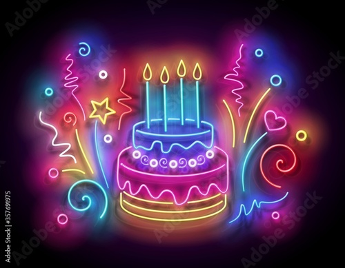 Fototapeta Glow Holiday Cake with Candles and Confetti obraz