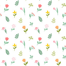 Seamless Pattern With Flat Flo...