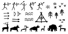 Vector Set Of Rock Paintings Of Prehistoric Humans, Animals, Weapons. Cave Drawings Of Different Symbols, Isolated On White Background