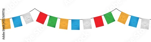 Fotografía colorful tibetan flags decoration vector isolated on white background