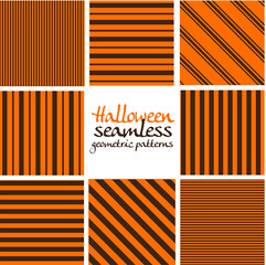 Set of brown and orange Halloween seamless geometric striped patterns