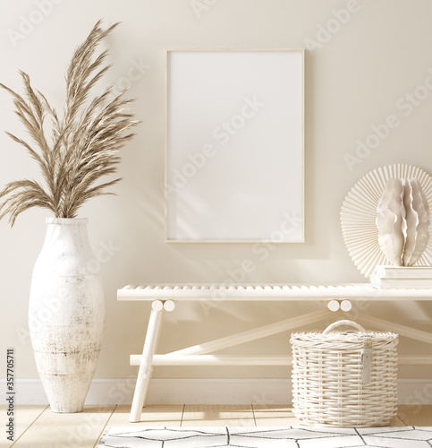 Obraz Mock up frame in home interior background, beige room with natural wooden furniture, 3d render - fototapety do salonu