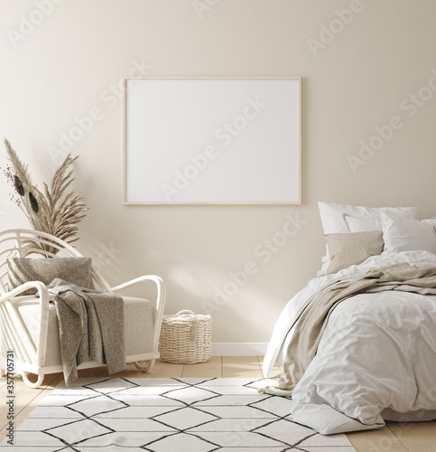 Obraz Mock up frame in bedroom interior background, beige room with natural wooden furniture, 3d render - fototapety do salonu