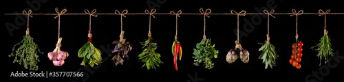Fototapeta panorama of fresh vegetables and spices on wooden background obraz