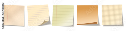 Fotografija Realistic blank sticky notes isolated on white background