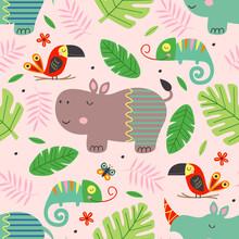 Seamless Pattern With Cute Jun...
