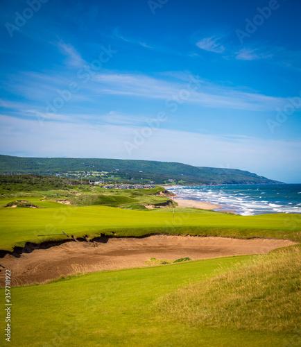 Obraz na plátně golf course in Nova Scotia overlooking the Atlantic Ocean