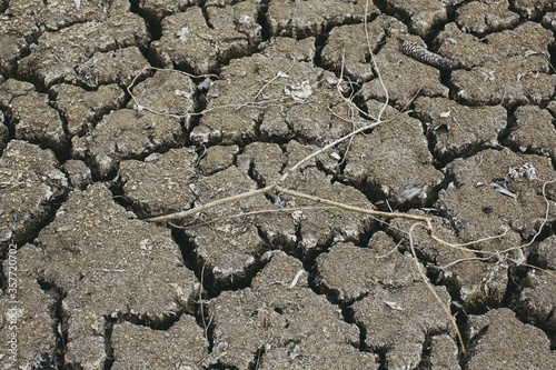 Photo Landscape shot of dry brown soil with cracks