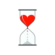 Life Time. Abstract Hourglass With Heart And Dripping Blood Turning To Dust. Vector Illustration