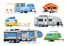Camping Trailers And Rv Car. Vector Motorhome, Camper Caravan And House Truck Icon Isolated On White Background. Recreation Vehicle With Camping Van Side View. Travel Car For Outdoor Vacation Set