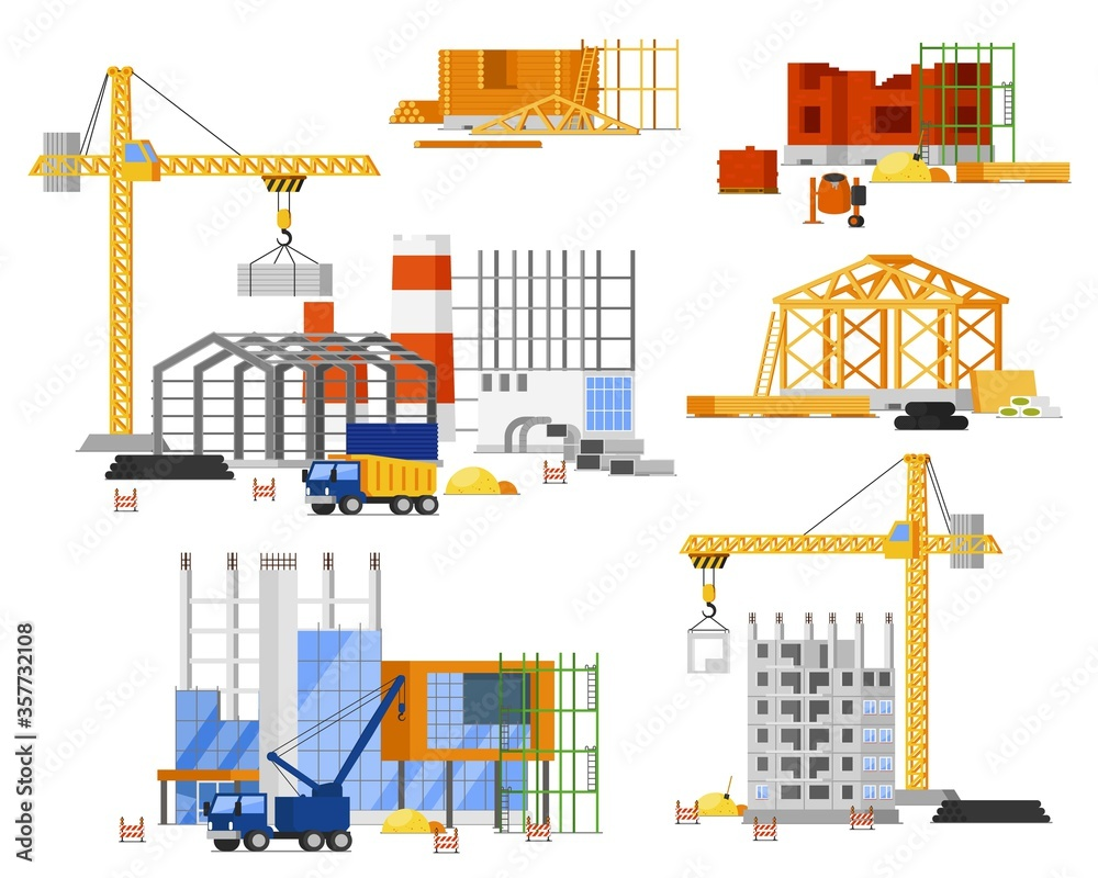 Fototapeta Construction site building set. Tower, truck crane building city, country house. Isolated steel, concrete, wooden structure frame with scaffolding. Construction engineering site, architecture industry