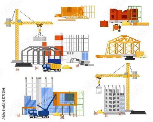 Construction site building set Fototapeta