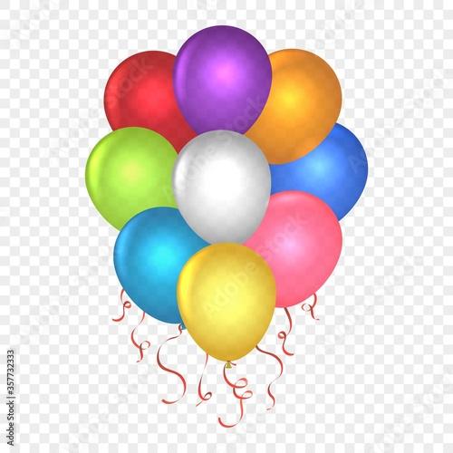 Fototapeta Realistic balloons on transparent obraz