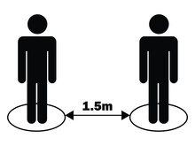 Social Distancing 1.5m One Half Point Five Meters Stick Figure. Black Illustration Isolated On A White Background. EPS Vector