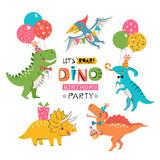 Fototapeta Dinusie - Funny cute colorful birthday party dinosaurs