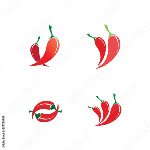 Leinwand Poster Red hot natural chili icon vector Illustration logo