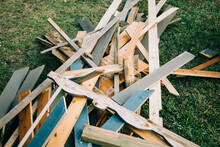 A Large Pile Of Scrap Wood Fro...