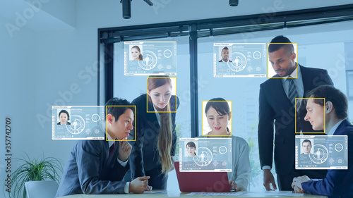 Obraz 個人認証 顔認識 - fototapety do salonu