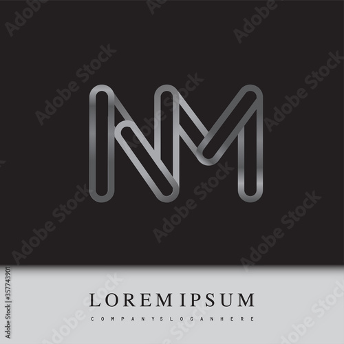 Fotomural initial logo letter NM, linked outline silver colored, rounded logotype