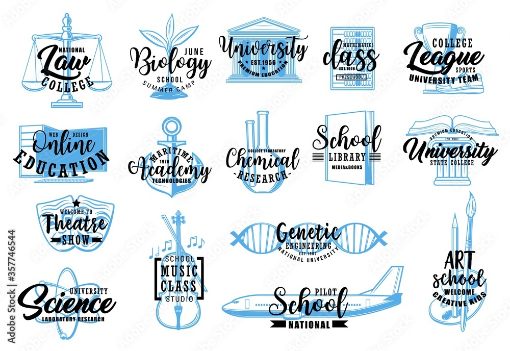 Fototapeta Education and science sketch icons of vector school, university, college, academy letterings. Music, sport, arts and biology classes, mathematics, chemical laboratory research, nautical, pilot school