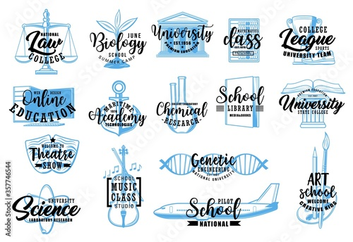 Education and science sketch icons of vector school, university, college, academy letterings. Music, sport, arts and biology classes, mathematics, chemical laboratory research, nautical, pilot school