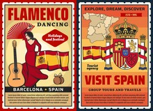 Spanish Flamenco Dance And Museum, Vector Spain Travel And Tourism. Spanish Flamenco Dancer With Barcelona Guitar And Castanets, Flag, Map And Heraldic Royal Crown Of Spain, Tourist Tours