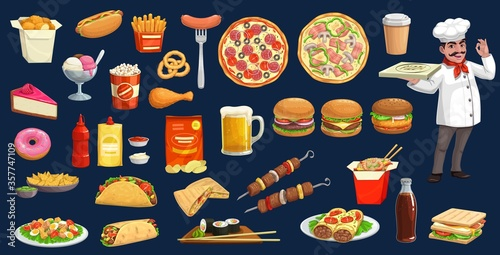 Fast food, drink and desserts with chef cartoon set. Vector burgers, pizza, hot dog , soda and coffee, hamburger, sandwich, chicken leg and nuggets, fries, taco, burrito, sushi, noodles and ice cream