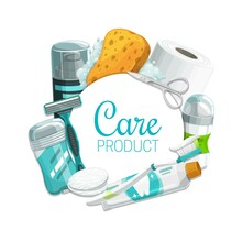 Hygiene Or Personal Care Vector Products. Toothbrush, Toothpaste, Soap And Sponge, Toilet Paper, Deodorant, Shaving Foam And Razor, Cotton Pads, Manicure Scissors And Antiperspirant, Toiletries Design