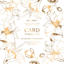 Vector Floral Elegant Card With Hand Drawn Gold Lilies And Leaves Isolated On White Background. Botanical Design Template For Wedding Invitation, Brochure, Card, Cover