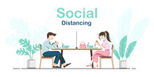 Social Distancing. Men And Women Sitting And Eating Food At The Dining Table That Has Partition For Prevent Infection Of Covid-19 Virus. Vector Illustration
