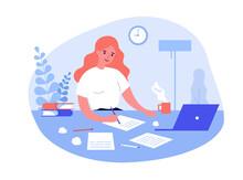 Writing Job Concept. Female Wr...