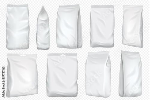 Foil bag. Vector plastic pack and paper pouch template. Blank food foil bag for snack isolated on transparent background. White package mock up for coffee and tea pack design.