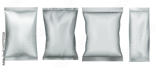Fototapeta Snack food pack. Plastic bag and foil pouch set. Aluminum package for bulk food template. Candy sachet mockup obraz