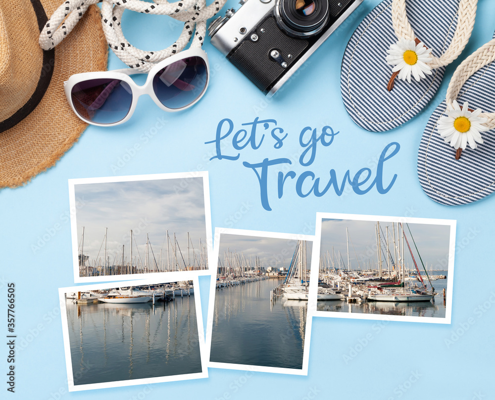 Fototapeta Summer vacation items and accessories