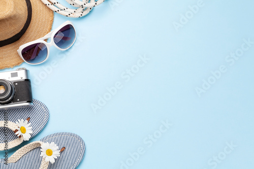 Obraz Summer vacation items and accessories - fototapety do salonu