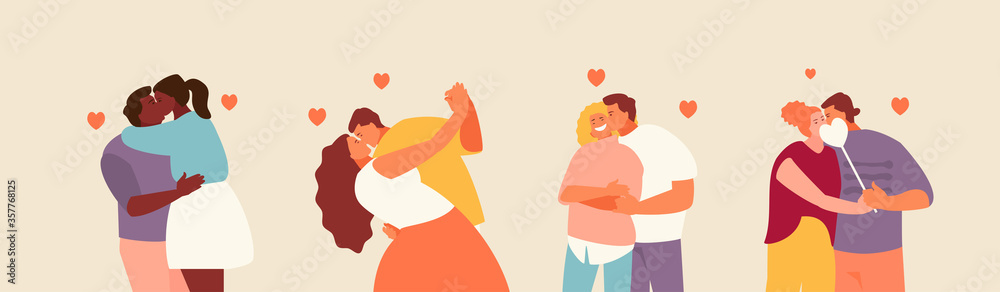 Fototapeta Group of romantic kissing couples. Valentines day, date and love. Vector characters