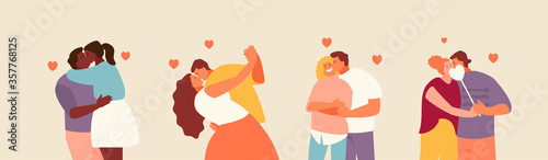 Group of romantic kissing couples Poster Mural XXL