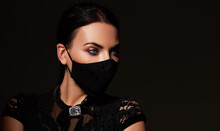 Stylish Woman Model  Wearing Designer Cloth  Face Mask Protect Against Coronavirus. Reusable Fashionable Face Mask.