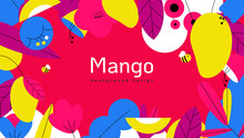 Nature Banner Background Template Design, Mangoes And Various Flowers And Leaves