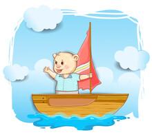 Cute Bear Sailor On The Boat Cartoon Hand Drawn, Cover Design, Wallpaper, Children Book, Vector Cartoon Illustration