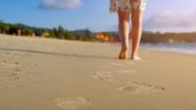 Barefoot Woman Walks On Ocean ...