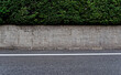 A thick hedge over a low concrete wall running along an asphalt road