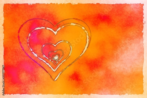 Illustration of a sketched hearts within each other on a red and orange shaded background